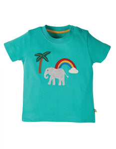 Frugi Little Creature Applique Top Pacific Aqua/ Elephant