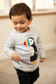 Frugi Magic Number Applique T-Shirt Long Sleeve - Grey Marl Puffin