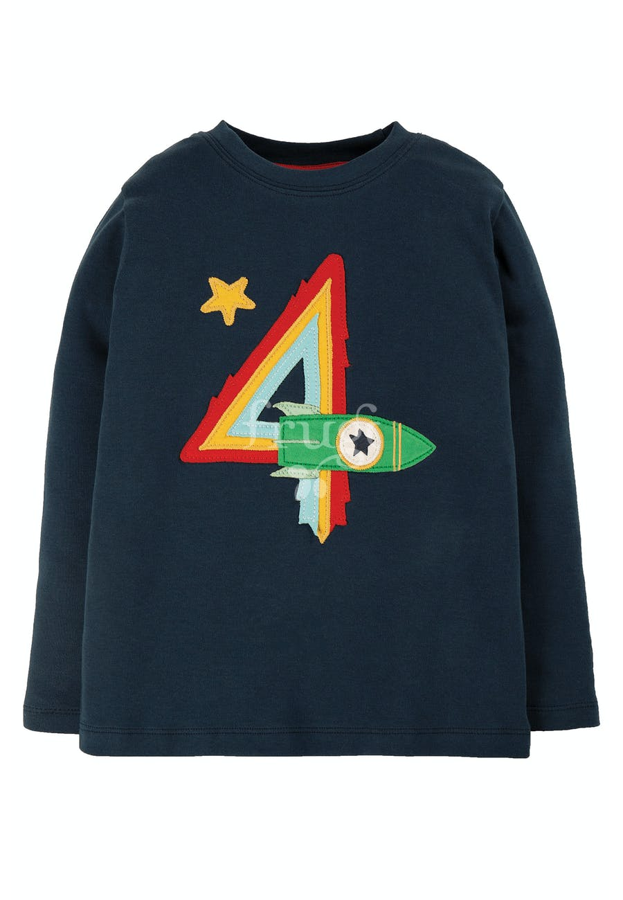 Frugi Magic Number T-Shirt Indigo/Rocket
