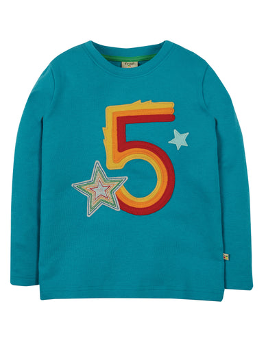 Frugi Magic Number Applique T-Shirt Long Sleeve - Tobermory Teal/Star