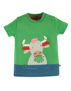 Frugi, Penryn Panel T-shirt, Glen Green/Buffalo