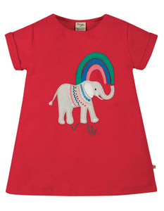 Frugi Sophie Applique Top Short Sleeve - True Red/Elephant