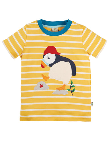 Frugi The National Trust Sid Applique T-Shirt Short Sleeve - Puffin