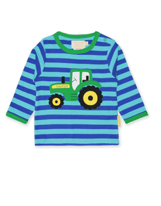Toby Tiger Organic Tractor Applique T-Shirt Blue - The Thrifty Stork