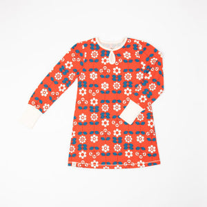 Alba Of Denmark Inge Dress Long Sleeve - Spicy Orange Fairy Tail Flowers
