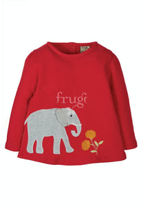 Frugi Connie Applique Top Long Sleeve - True Red/Elephant