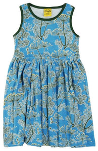 Duns  Sleeveless Dress With Gathered Skirt  Dill Blue - The Thrifty Stork