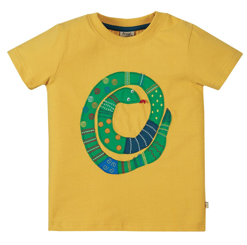 Frugi Avery Applique Top Short Sleeve - Bumble Bee/Snake