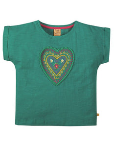 Frugi Sophia Slub T-Shirt Short Sleeve - Jewel/Heart