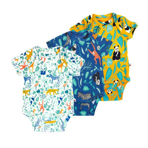 Piccalilly 3 Pack Baby Bodysuits - Animal Adventure