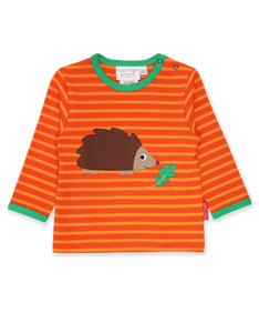 Toby Tiger Organic Hedgehog Applique Long SleeveT-Shirt Orange - The Thrifty Stork