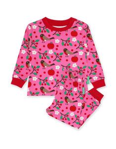 Toby Tiger Organic Robin Print Pyjamas Pink - The Thrifty Stork