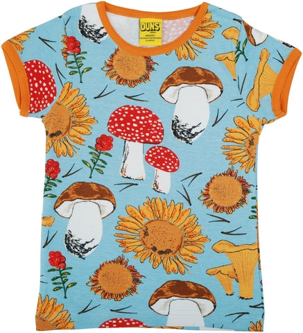 DUNS Sweden Top Short Sleeve - Sunflowers & Mushrooms Sky Blue   *
