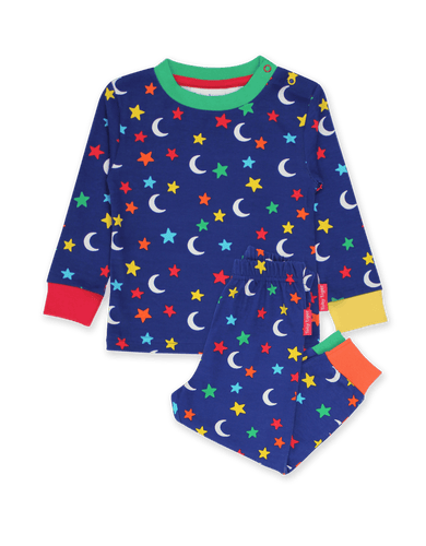 Toby Tiger Organic Star Print Pyjamas Blue - The Thrifty Stork