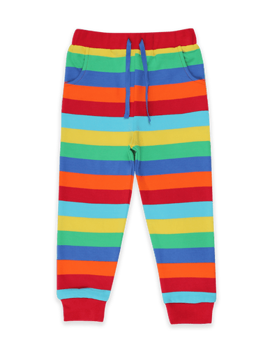 Toby Tiger Organic Multi Stripe Joggers Multicoloured - The Thrifty Stork