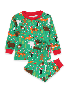 Toby Tiger Organic Christmas Print Pyjamas Green - The Thrifty Stork
