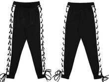 GONTHWID Side Cross Lace Up Joggers Pants Mens 2017 Autumn Drawstring Waist Track Sweatpants Hip Hop Trousers Streetwear