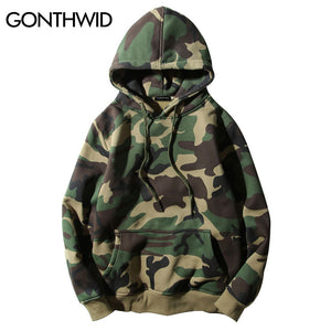 GONTHWID Army Green Camouflage Hoodies 2017 Winter Mens Camo Fleece Pullover Hooded Sweatshirts Hip Hop Swag Cotton Streetwear