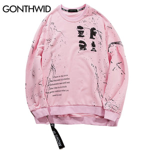 GONTHWID Side Zipper Ribbon Hoodies 2017 Inked Graffiti Printed Pullover Sweatshirts Hip Hop Skateboards Oversized Swag Hoodies