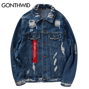 GONTHWID Ribbon Ripped Denim Jacket Mens Vinage Distressed Destroyed Jeans Coat Hip Hop Casual Printed Hole Jackets Coats Blue