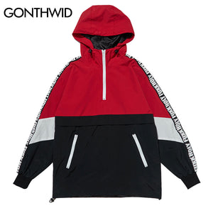GONTHWID Patchwork Color Block Pullover Hooded Jackets 2017 Autumn Zipper Tracksuit Casual Jacket Coats Hip Hop Male Streetwear