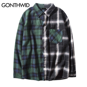GONTHWID Vintage Contrast Color Block Plaid Shirt Men 2017 Patchwork Pocket Long Sleeve Shirts Hip Hop Casual Button Up Shirts