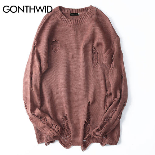 GONTHWID Ripped Destroyed Holes Distressed Sweaters Mens Knitted Pullover Sweater Male Hip Hop Fashion Loose Sweater Streetwear