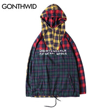 GONTHWID Patchwork Pullover Plaid Long Sleeve Hoodies Shirts Mens Hip Hop Printed Zipper Pocket Casual Shirts Fashion Streetwear