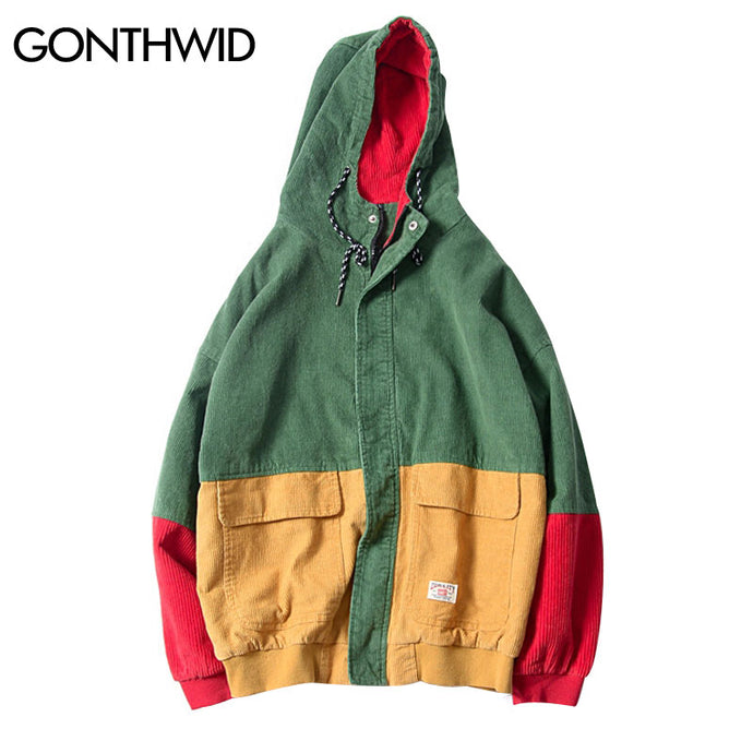 GONTHWID Color Block Patchwork Corduroy Hooded Jackets Men Hip Hop Zipper Up Hoodies Coats Male 2017 Casual Streetwear Outerwear