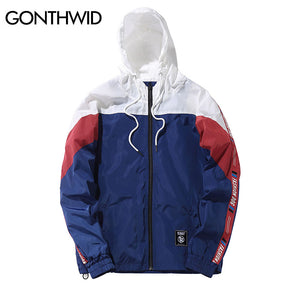 GONTHWID Color Block Patchwork Windbreaker Hooded Jackets Men Hip Hop Full Zip Up Pullover Tracksuit Jacket Fashion Streetwear
