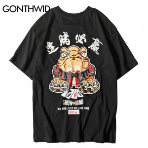 GONTHWID Chinese Character Poker Printed T Shirts Mens 2018 Hip Hop Casual Cotton Short Sleeve Tops Tees Skateboards Streetwear