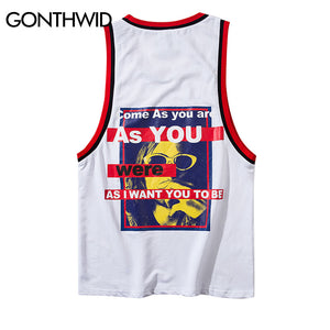 GONTHWID 2018 Summer Casual Tank Tops Shirts Hip Hop Printed Tank Tops Vest Men Women Color Block Sleeveless T Shirts Streetwear