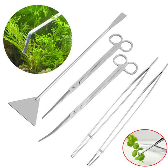 5 Piece Set - Large Stainless Steel Aquascaping Tools