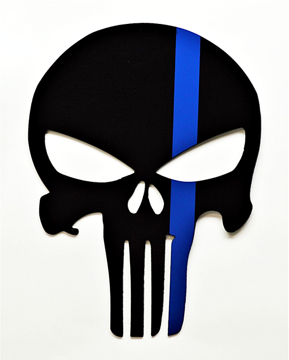 Limited Edition Punisher Police Tribute Wall Art - Thin Blue Line - Knob Creek Metal Arts
