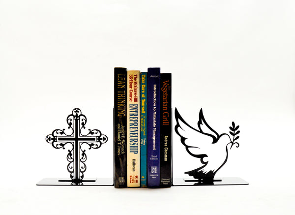 Cross Dove Bookends - Knob Creek Metal Arts