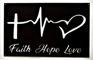 Faith Hope Love Wall Art - Knob Creek Metal Arts