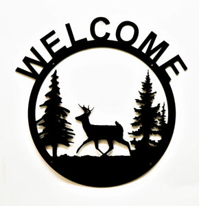Welcome Cabin Sign Wall Art - Deer - Knob Creek Metal Arts