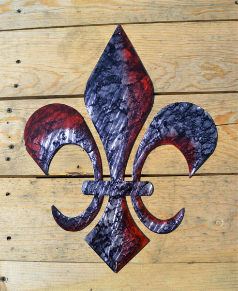 "Custom Painted 18"" Fleur De Lis Wall Art - Knob Creek Metal Arts"