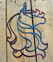 Custom Candy Painted Unicorn Wall Art - Knob Creek Metal Arts