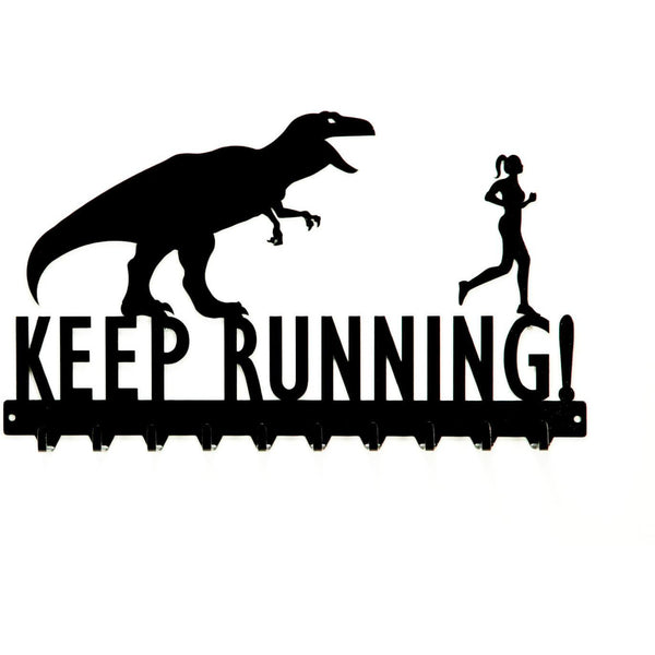 Keep Running T-Rex & Woman Medals Rack - Knob Creek Metal Arts
