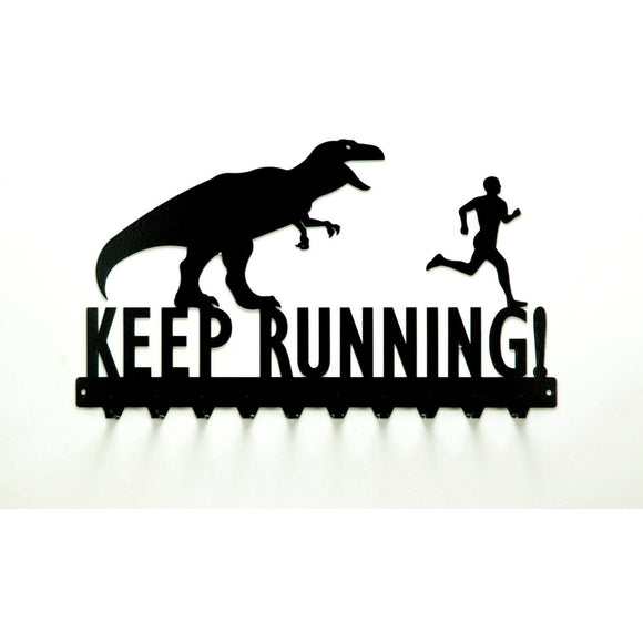 Keep Running T-Rex & Man Medals Rack - Knob Creek Metal Arts