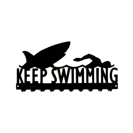 Keep Swimming Medals Rack- 10 Hook - Knob Creek Metal Arts