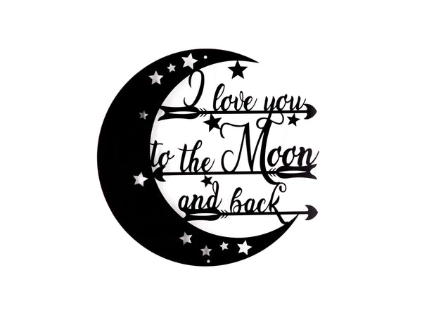 I Love You To The Moon And Back Wall Art - Knob Creek Metal Arts