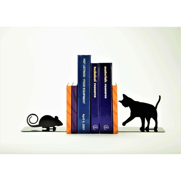 Cat and Mouse Bookends - Knob Creek Metal Arts