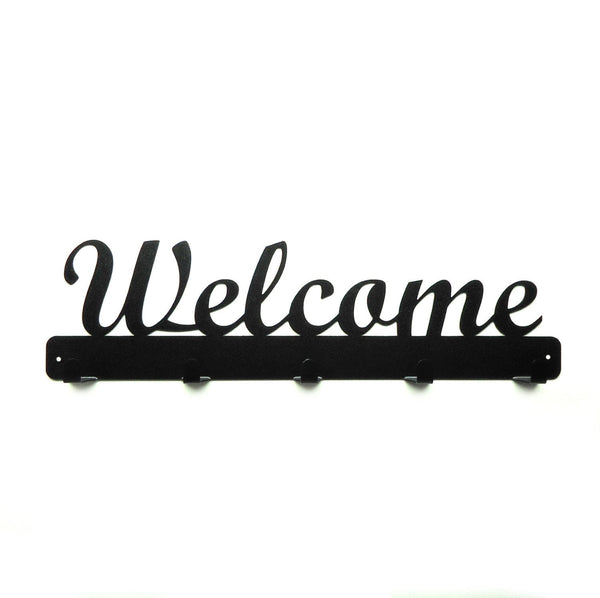 Welcome Script Metal Art Coat Rack - Knob Creek Metal Arts