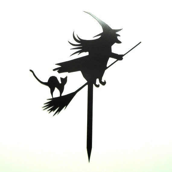 Witch on Broom with Black Cat Halloween Yard Garden Sign - Knob Creek Metal Arts