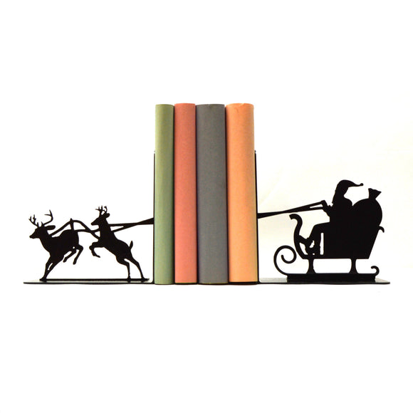 Santa's Sleigh Bookends - Knob Creek Metal Arts