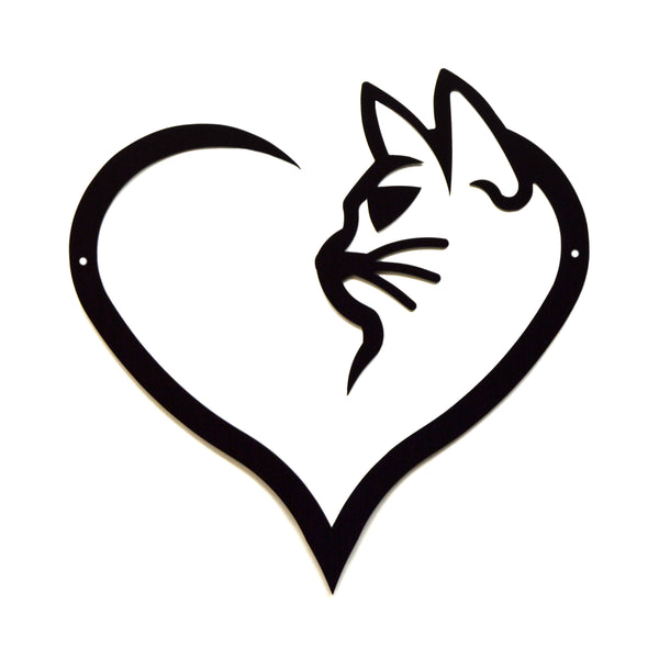 Cat Heart Wall Art - Knob Creek Metal Arts