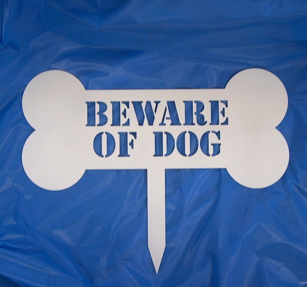 Beware of Dog Yard Stake - Knob Creek Metal Arts