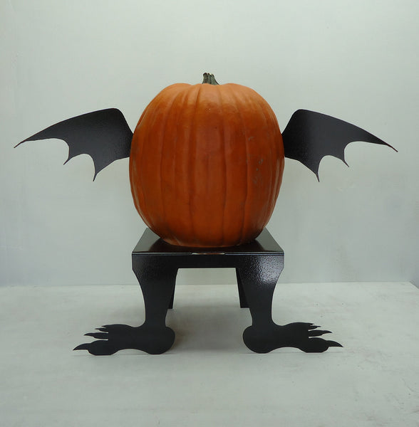 Pumpkin JackOLantern Metal Art Bat Wings - Knob Creek Metal Arts